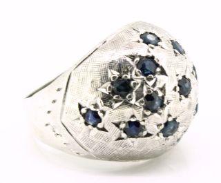 Alter,  Kleiner Silber Ring - Sternenhimmel Mit Saphiren - Um 1960 Bild