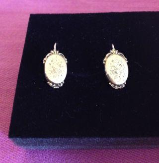 Echtgold 585 Süße Ohrringe Mit Jugendstilgravur Ca.  1890 Aus Familienbesitz Top Bild