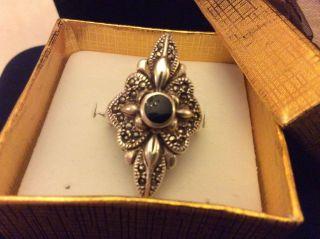 925 Silber Ring,  Mit Markasiten,  Onyx Bild