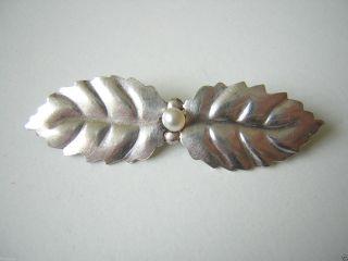 Antike 835 Silber Blattbrosche Mit Echter Perle Silber Schmuck Brosche 282 Bild