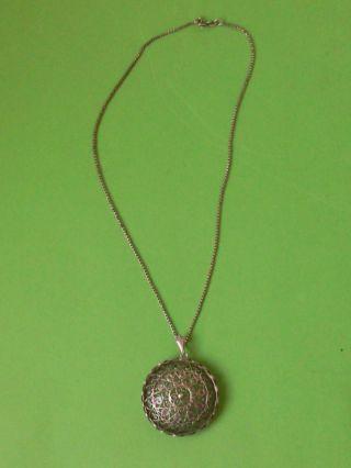 Feine Damenhalskette Halskette Kette Silber Mit Filigransilberanhänger Anhänger Bild