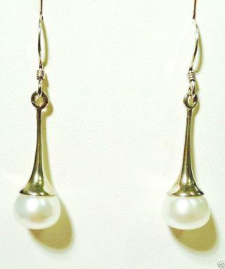 Schöne Lange Silberohrhänger 925er Silber Mit Perle Ohrhänger Ohrringe Bild