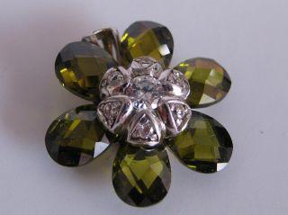 Schöner Edelstein Ketten Anhänger Citrin Blüte Mit Straß Silber 925er Bild