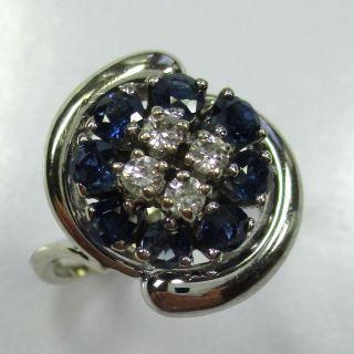 876 - Dekorativer Ring - 585 Weißgold - Saphire - Brillanten - - - Video - 1450 - Bild