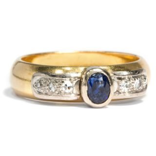 Datiert 1913: 900er Gold Ring Mit Saphir & Diamanten / 21k Sapphire Diamond Ring Bild