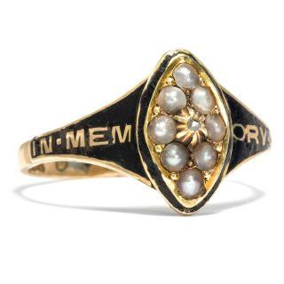 Victorian: Trauer Ring,  Gold Naturperlen Diamant & Email,  Trauerschmuck Mourning Bild