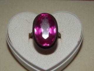 Alter Silberring Mit Großem Pinkfarbenem Stein Bild