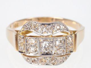 Jugendstil Damen 585 14k Gelbgold 1,  06 Ct H - Vsi Altschliff Diamant Ring,  Gr.  65 Bild