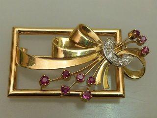 Brosche Gold 750 Brillanten Rubine Art Deco Rechteckig Handarbeit Um 1940 Bild