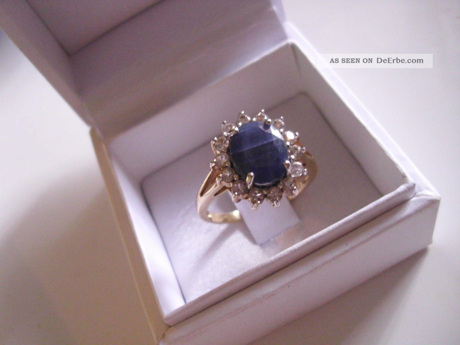 ... - Ring - Silber Verg. Cubiczirkonen U. Blauem Stein Ringe Bild 1