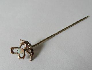Nadel Anstecknadel Gold 333 Mit Opal,  Saatperlchen Brosche Floral Jugendstil Bild