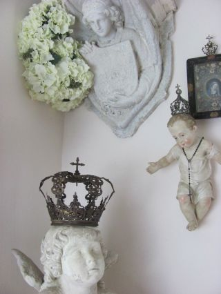 French Shabby Chic Königliche Krone Couronneroyale King Crown Antik Gold Finish Bild