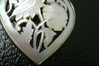 Alter AnhÄnger Herz Perlmutt Durchbruch Schnitzerei,  Etwas GrÖßer Bild