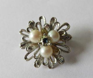 Perlenketten Clip Clips Kettenclip 835er Silber Mit Blauem Steinchen Und Perlen Bild