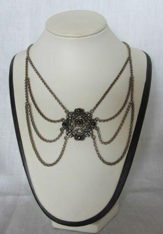 835´er Silber Trachten Kette Collier Mit 5 Granaten - Jugendstil Bild
