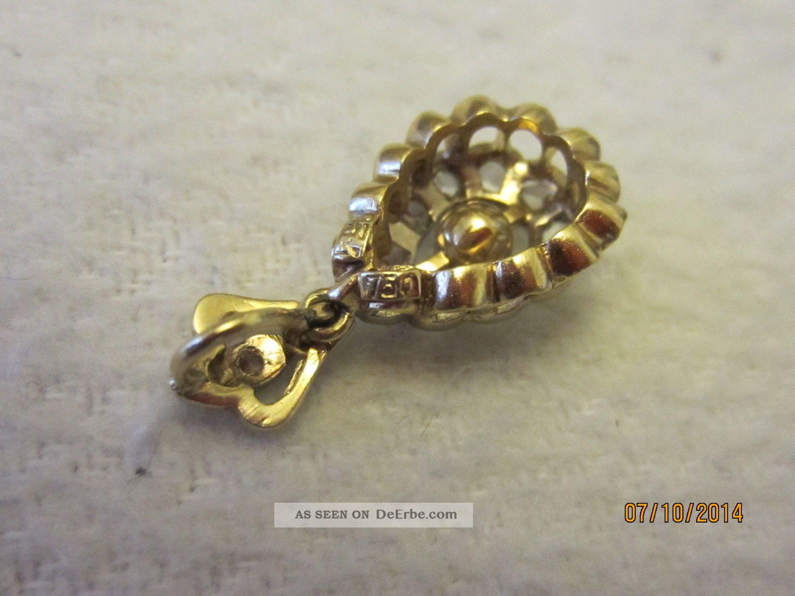 Antik Gold AnhÄnger Mit 12 Diamanten / 750 Gold Schmuck nach Epochen ...
