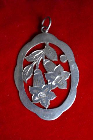 Großer Anitiker Silber Anhänger Enzian Jugendstil 5 X 3,  6 Cm Bild