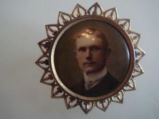 Antike Jugendstil Art Nouveau Brosche Photo Medaillon Aus Schaumgold Unikat Bild