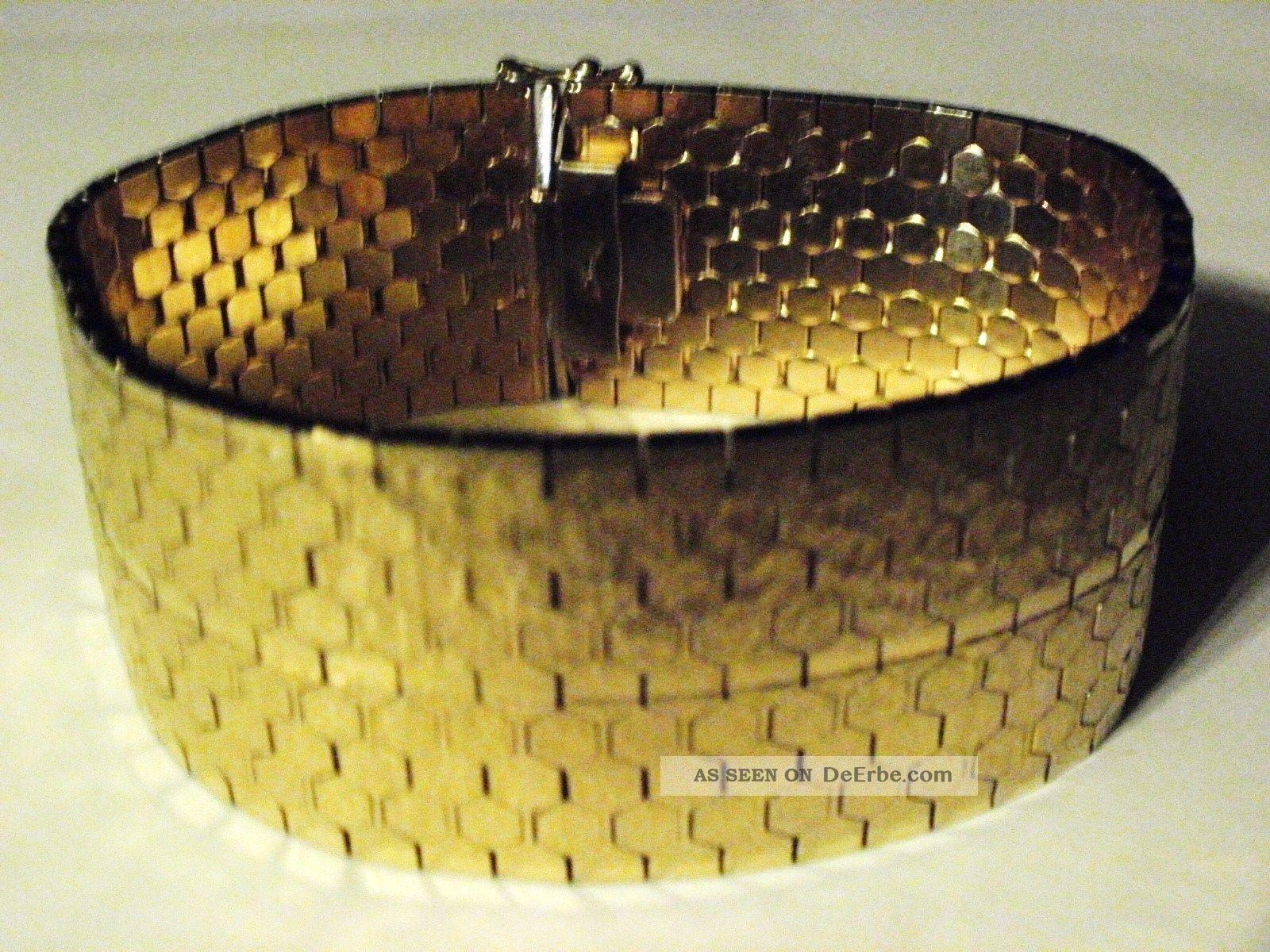 Sch 246 Nes Breites Schweres Armband In Gold Vintage Schmuck