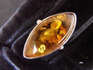 Art Deco Silber 925 Ring,  Dekorativer Ovaler Bernstein,  Xxl Bild