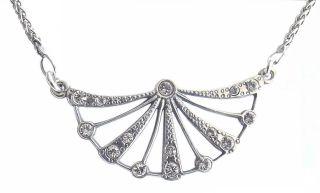 Art Deco Zwanziger Jahre Halskette 925 Silber Vintage Necklace Anhgl37 Bild