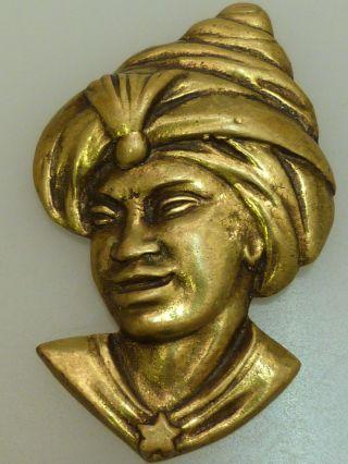 Clip Vintage Kopf Eines Arabischen Jungen Mit Turban Messing Um 1930 Art Déco Bild