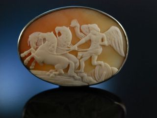 Antike Gemmenbrosche Silber England 1880 Brosche Gemme Kamee GeflÜgelter Genius Bild