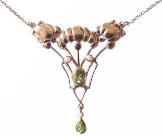 Halskette / Collier Mit Peridot,  Silber Vergoldet Vintage Necklace Anhms3 Bild