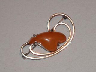 Schöne Alte Silberbrosche M.  Großen Butterscotch - Honig - Bernsteinherz - Real Amber Bild