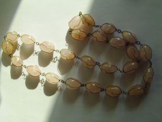 Antike,  Schwere Rosenquarz Kette,  Silber - Farbener Draht,  Handarbeit,  Selten,  Oliven Bild
