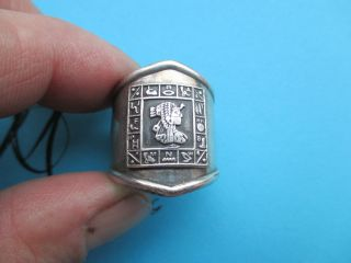 Antik Silber 925 GeprÜft Ägyptische Talisman Ring Hand Arbeit Bild