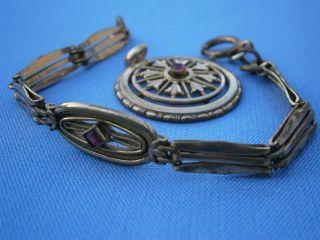 - - Feiner Biedermeier Schmuck Mit Rubinen,  Armband Und Anhänger,  Schaumgold - - Bild