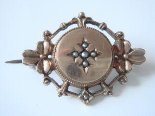 Antike Biedermeier Brosche Echt Silber Geprüft & Gold Double Mit 5 Echten Perlen Bild