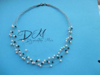 Silber 925 Collier Mit Echten Perlen Bild