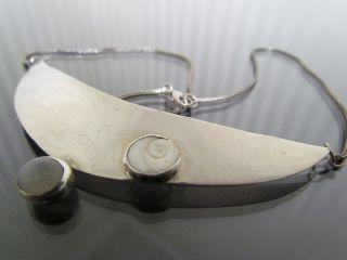 Art Deco Silber 925,  Handarbeit,  Kette,  Anhännger Mit Muschel,  Selten Bild