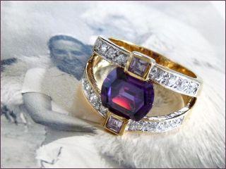 Silber Gold Ring M.  Lila Tansanit Amethyst Weiße Steinen Im Brilliant Schliff Bild