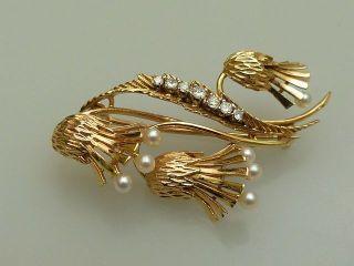 Brosche Gold 750 Brillanten Perlen Handarbeit Floral BlÜten Bild