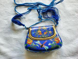 Feinste Email - Tasche = Schmetterling,  Libelle,  Blumen Topzustand Bild