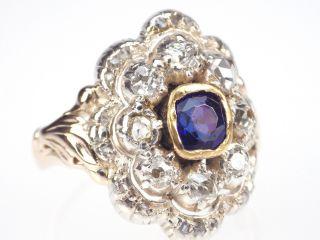 Historismus Um 1890,  585 Gelb Gold Weißgold Saphir Diamant Ring,  Antik Bild