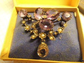 Wunderschöne Alte Silber Brosche Mit Violetten Steinen (ametyste?) Um 1900 Bild