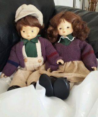 2 Alte Porzellan Puppen Mädchen & Junge Dachbodenfund Ca.  40 Er Jahre Bild