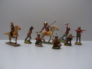 Elastolin Figuren Omh Konvolut Aus Speicherfund Indianer Cowboy Pferde Gemarkt Bild