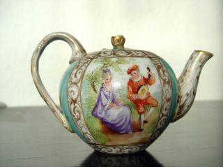Puppen - Kaffeekanne,  Dresden Um 1900,  Watteau Malerei,  Seltenes Sammlerstück Bild