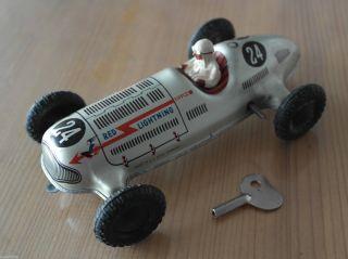 1950 Tippco Red Lightning 24 Mit Schlüssel Us Zone Blechspielzeug Auto Rennwagen Bild