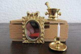 Bodo Hennig - Puppenstuben - ZubehÖr - Messing - Kerzenständer,  Spiegel,  Mörser Bild