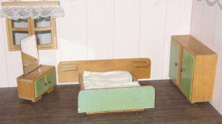 Konvolut 50er Jahre Möbel Puppenstube Puppenhaus Schlafzimmer Puppenstubenmöbel Bild