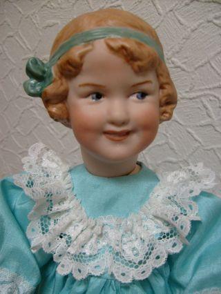 Heubach Porzellan Kopf Puppe Coquette,  Größe 33 Cm,  Repro. Bild