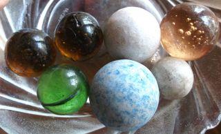 6 Murmeln,  Marbles,  Klicker,  Micas Und Ton/ Verschiedene Größen Bild
