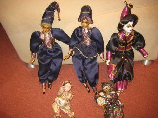 5 Sehr SchÖne Harlekin Puppen Siehe Bilder Bild
