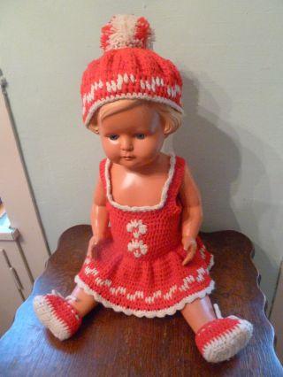 Schöne Alte 4teil.  Puppenkleidung Handarbeit Anf.  50iger L 28 Cm - Taille 41 Cm Bild
